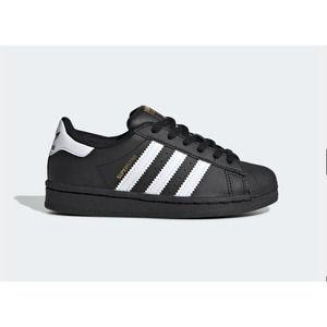 Little Kid Adidas Superstar Black Sneakers // 13